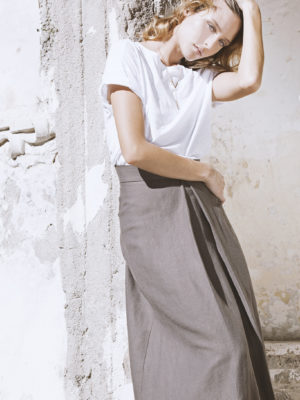 Josephine Skirt mud brown with removable suspenders