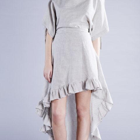 agnes skirt linen stripes