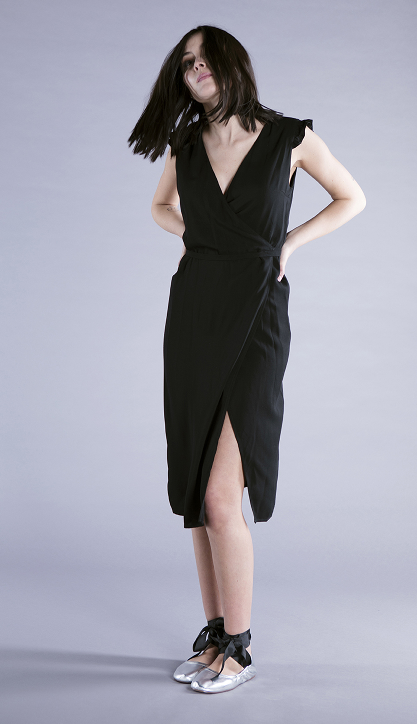 Ronnie wrap dress black made from Italian Viscose-limited edition dress 100% ethically made in Rome. For Babes who Care!