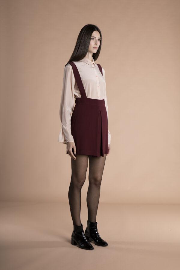 Josie mini Skirt with removable suspenders burgundy