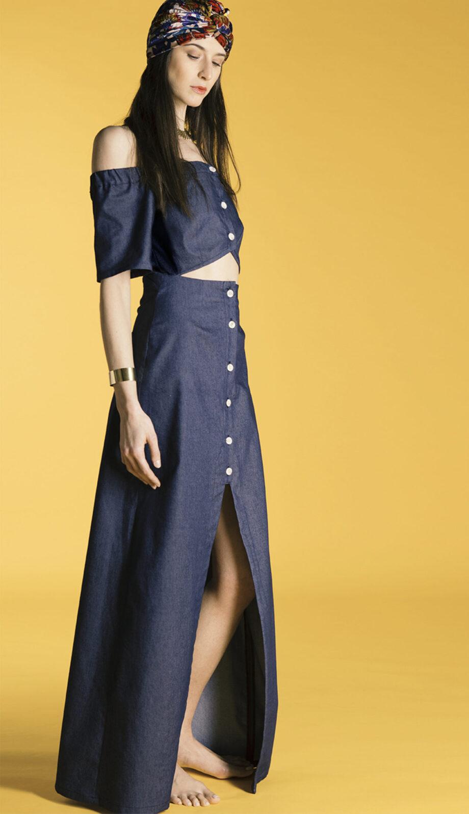 Alaia long dress Denim