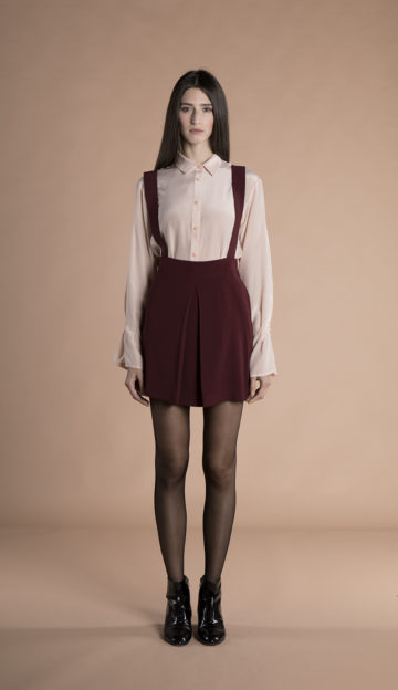Josie mini Skirt with removable suspenders burgundy
