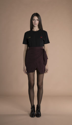 Sienna Wrap Mini Skirt burgundy