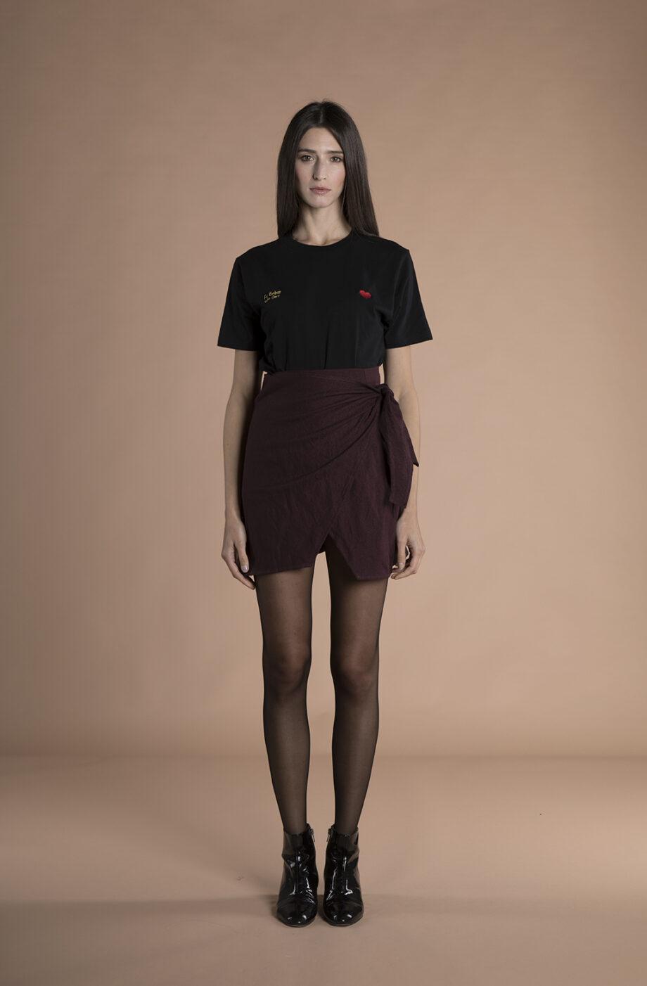 Sienna Wrap Mini Skirt burgundy