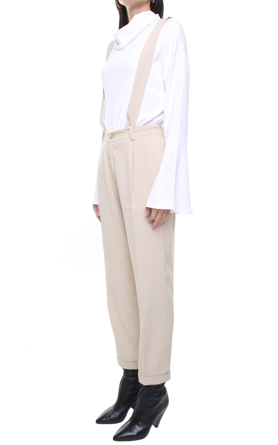 Jane trousers light beige w/ removable suspenders