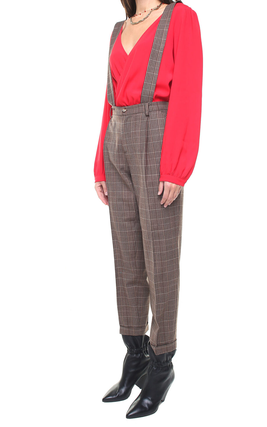 Jane trousers brown plaid w/ removable suspenders