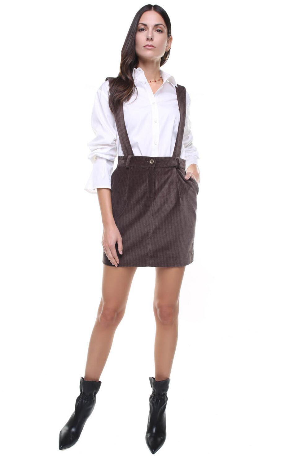 Mia Skirt velvet w/ removable suspenders
