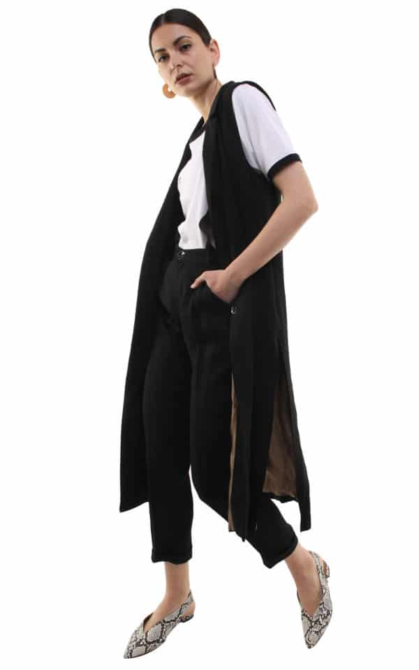 Irene long Gilet Black