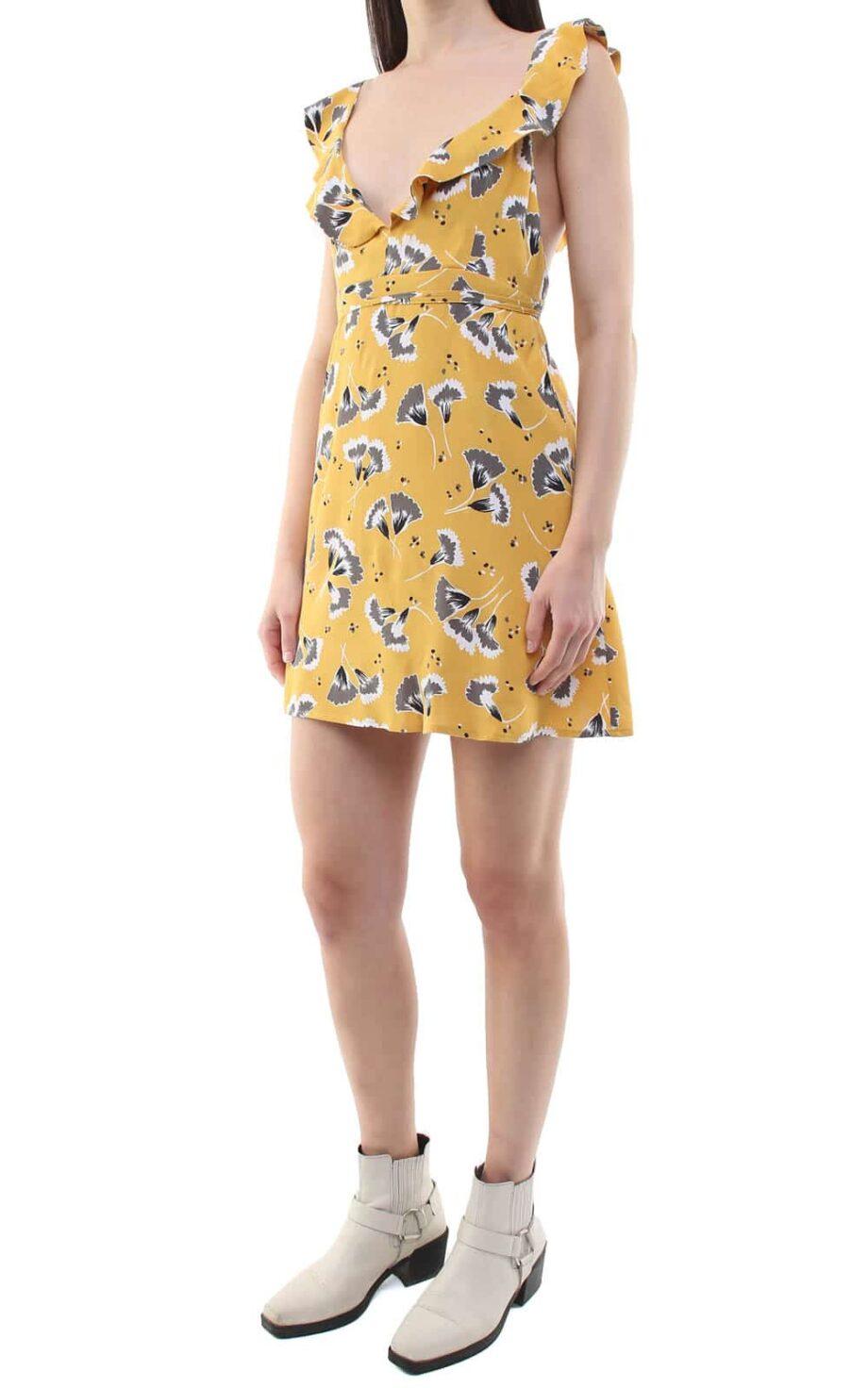 Niki short dress yellow