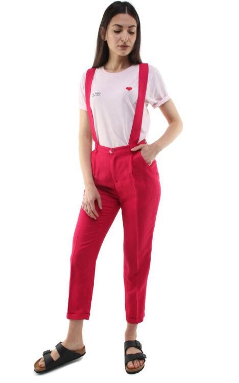 Jane trousers w/ removable suspenders strawberry pink