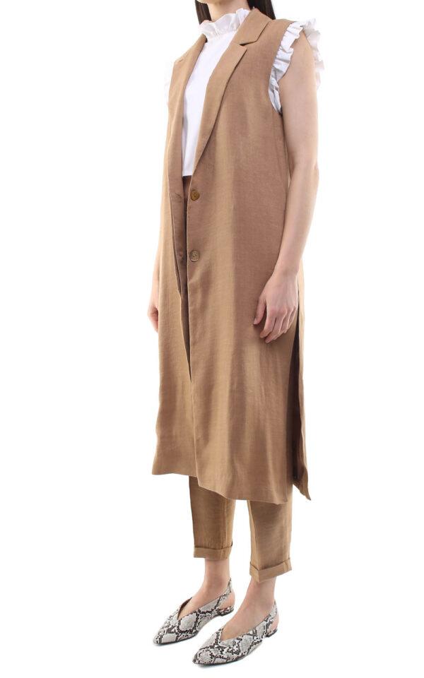 Irene long Gilet Camel