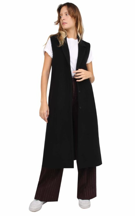 Irene long Gilet Wool and Cashmere Black