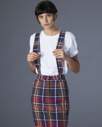 Mia Skirt w/ removable suspenders checks