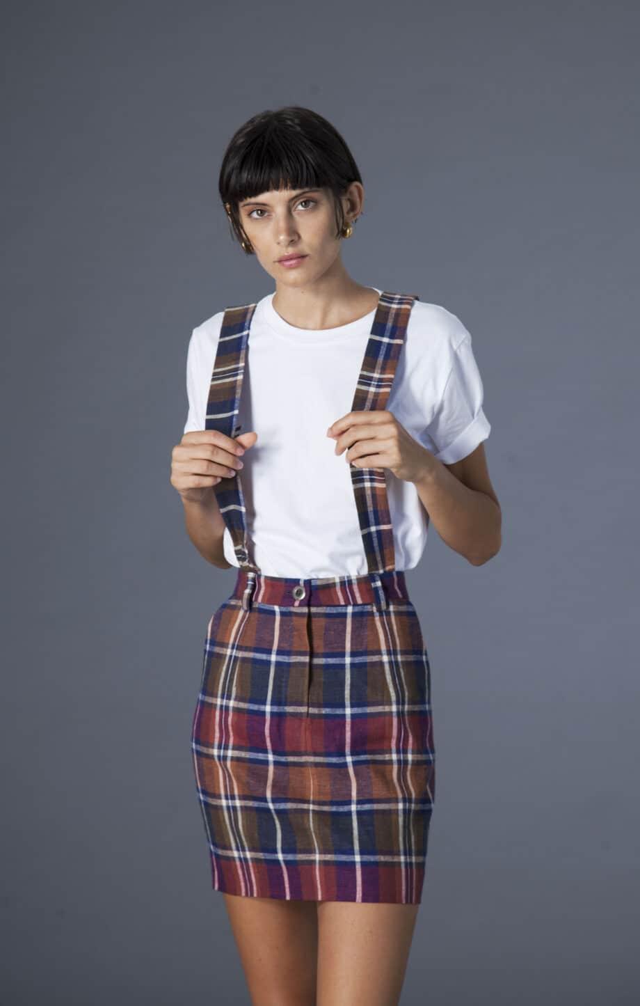 Mia Skirt w/ removable suspenders checks