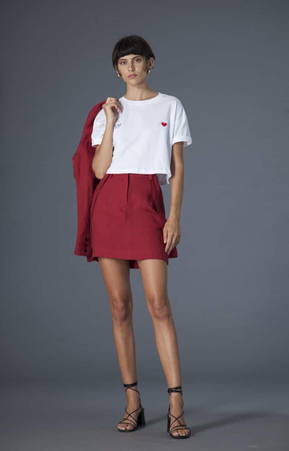 Mia Skirt w/ removable suspenders linen