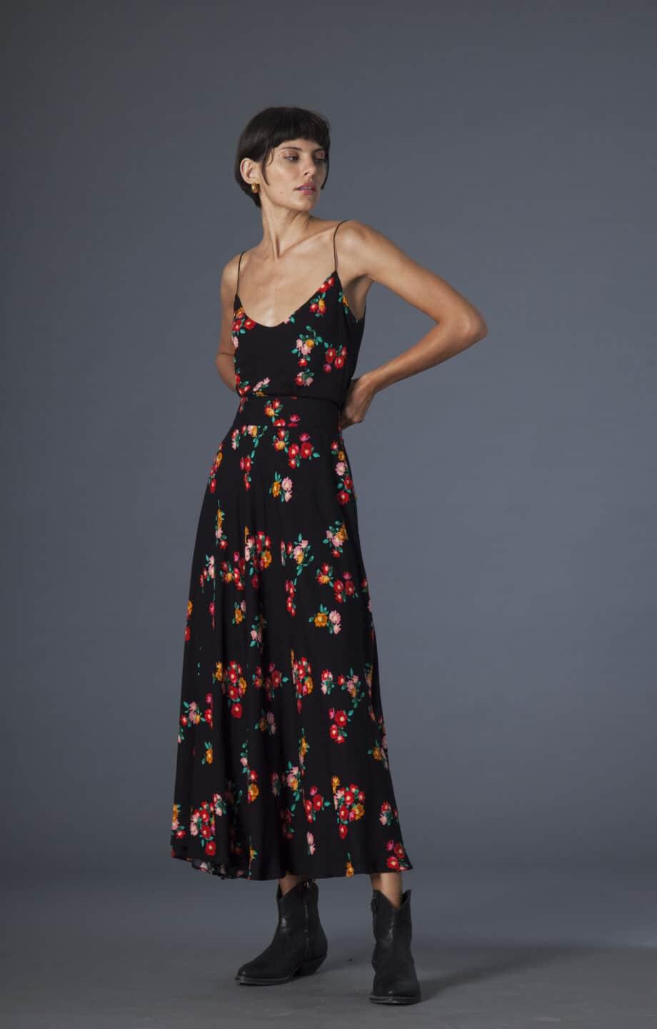 Gina Skirt Flowers black